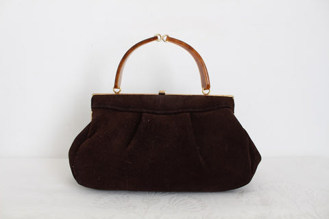 VINTAGE SUEDE LEATHER LUCITE HANDLE HANDBAG