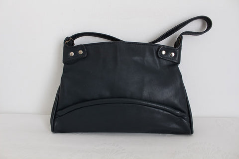 VINTAGE NAVY GENUINE LEATHER SHOULDER BAG