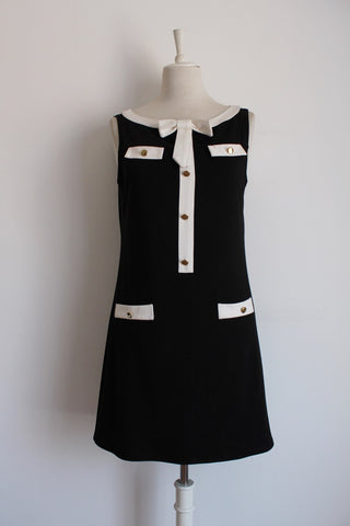 VINTAGE STYLE BLACK CREAM SHIFT DRESS - SIZE 14