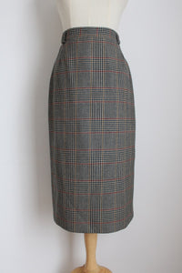 VINTAGE WOOL PLAID HOUNDSTOOTH PENCIL SKIRT - SIZE 6