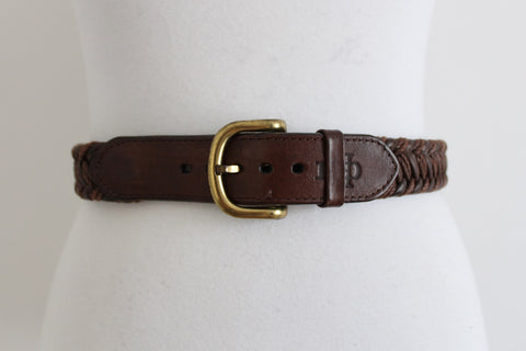VINTAGE GENUINE LEATEHR BROWN WOVEN BRAIDED BELT