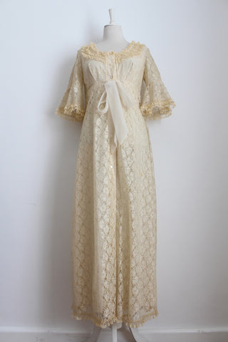 VINTAGE LACE CREAM BUTTON DOWN RUFFLE MAXI NIGHTGOWN DRESS - SIZE 10