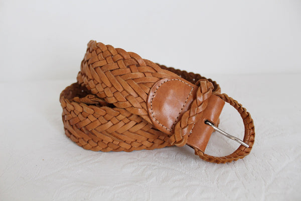 VINTAGE GENUINE LEATEHR TAN WOVEN BELT