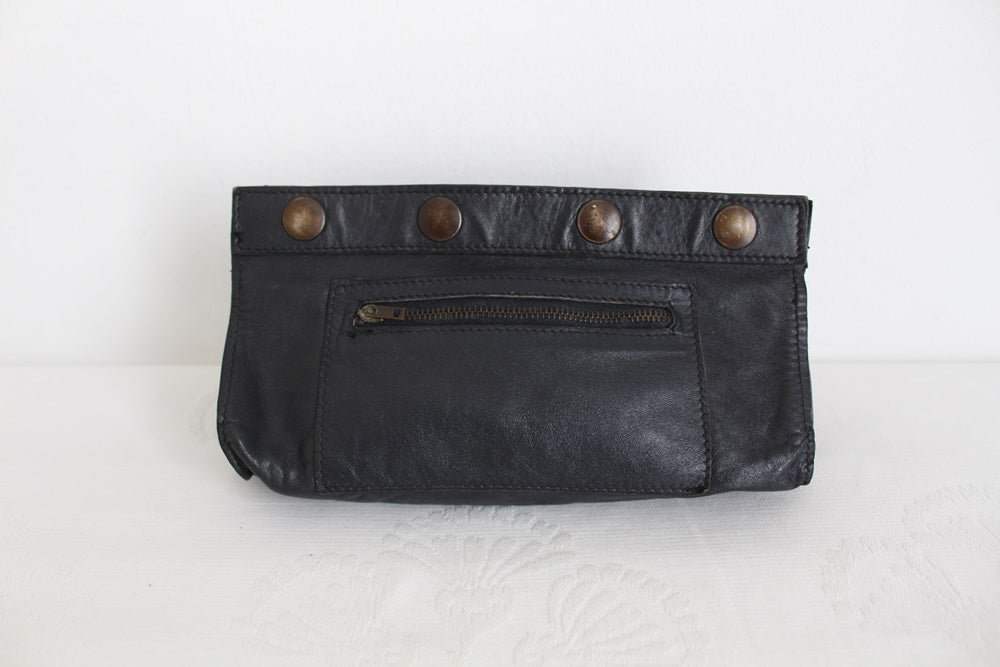 VINTAGE LAMBSKIN LEATHER NAVY SMALL CLUTCH PURSE