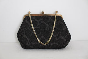 VINTAGE BROCADE FLORAL BLACK EVENING BAG