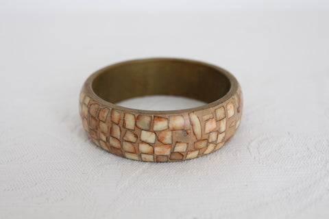 VINTAGE BONE INLAY BRASS BANGLE