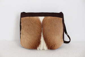 *GENUINE SPRINGBOK SKIN* VINTAGE SUEDE LEATHER BROWN SHOULDER SLING BAG