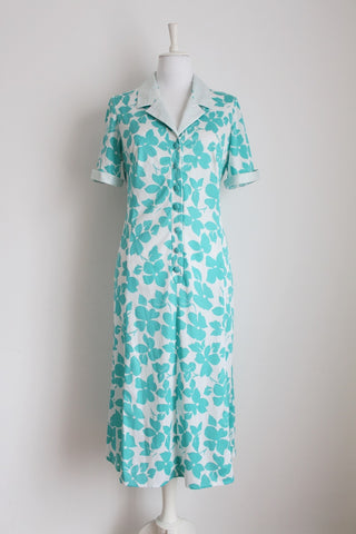 VINTAGE FLORAL TURQUOISE WHITE PRINT DAY DRESS - SIZE 14