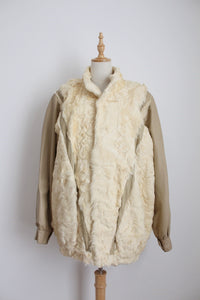 GENUINE SHEEPSKIN LEATHER VINTAGE CREAM JACKET - SIZE XL