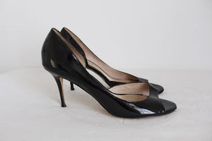 ALDO GENUINE PATENT LEATHER PEEP TOE HEELS - SIZE 7