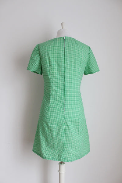 VINTAGE GREEN GINGHAM CHECK COTTON MINI DRESS - SIZE 10