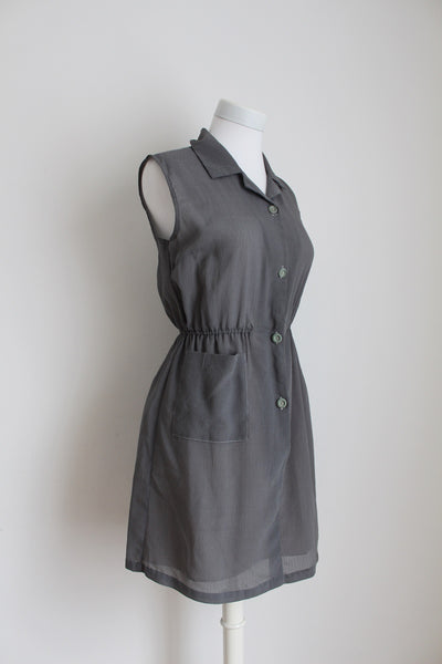 VINTAGE GREY SLEEVELESS MINI DAY DRESS - SIZE 10