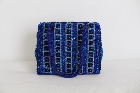 VINTAGE SEQUINED BEADED BLUE SILVER EVENING CLUTCH PURSE