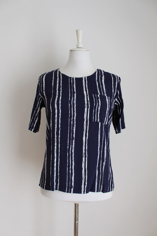 POETRY NAVY WHITE STRIPE TOP - SIZE 10