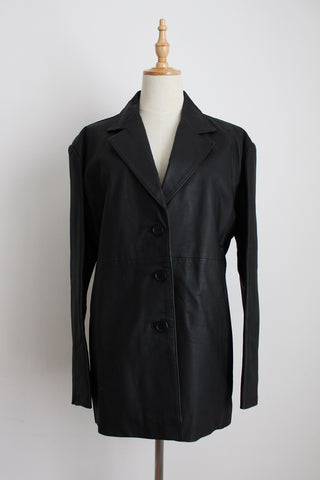 GENUINE LEATHER BLACK WOOLWORTHS JACKET - SIZE 16