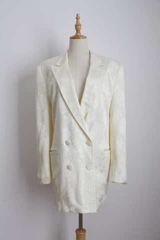 VINTAGE CREAM FLORAL DOUBLE BREASTED BLAZER - SIZE 12