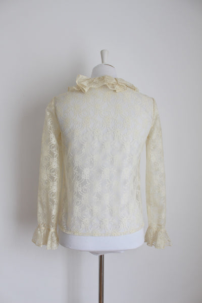 VINTAGE SHEER LACE CREAM RUFFLE BLOUSE - SIZE 8