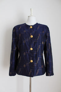 100% SILK VINTAGE NAVY JACKET - SIZE 14