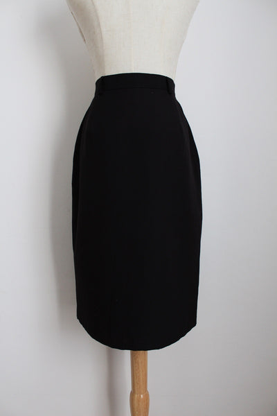 VINTAGE BLACK WRAP PENCIL SKIRT - SIZE 10