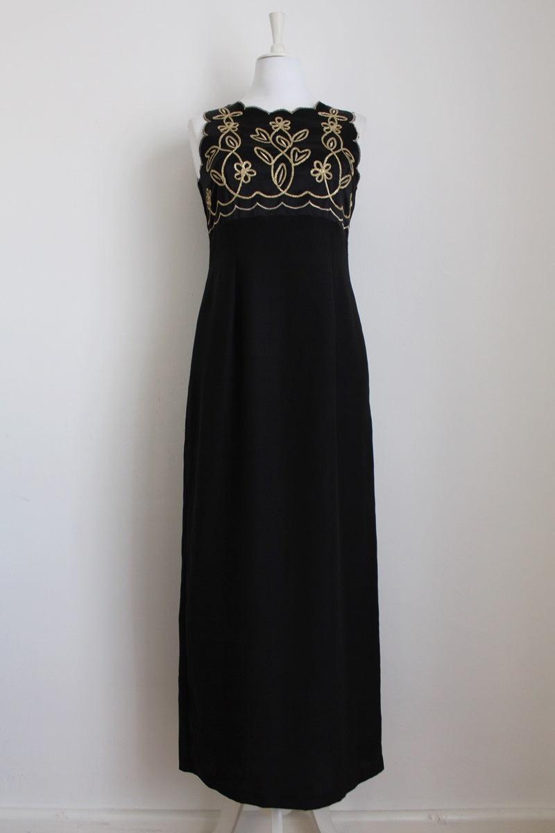 VINTAGE GOLD EMBROIDERY BLACK MAXI EVENING DRESS - SIZE 10