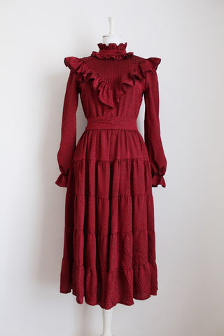VINTAGE MAROON RUFFLED TIE DRESS - SIZE 10