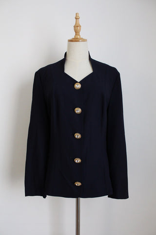 VINTAGE FINK NAVY JEWEL BUTTON JACKET - SIZE 12/14