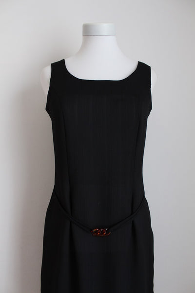 VINTAGE SLEEVELESS BELTED LITTLE BLACK DRESS - SIZE 8