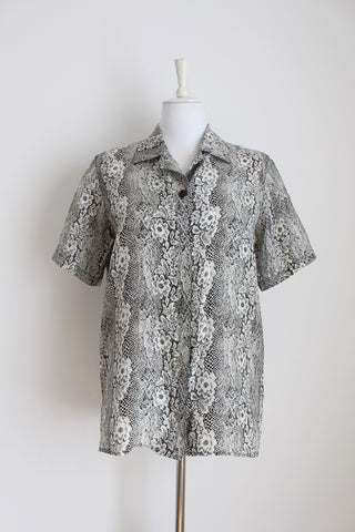 100% SILK VINTAGE PRINTED BLACK WHITE SHIRT - SIZE 12