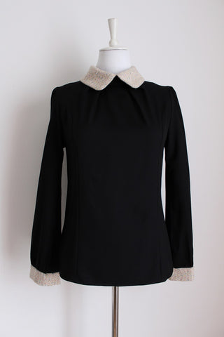 VINTAGE KNIT COLLAR BLACK BLOUSE - SIZE 10
