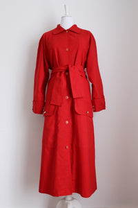 VINTAGE RED ANCHOR BUTTON TRENCH COAT - SIZE 14