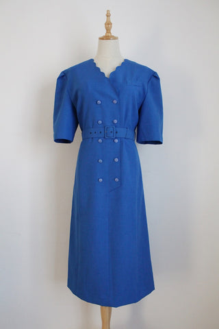 VINTAGE BLUE DOUBLE BREASTED BELTED DRESS - SIZE 14