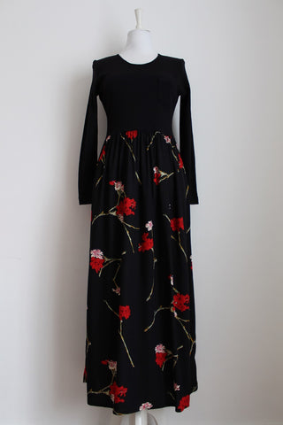 VINTAGE BLACK FLORAL PRINT LONG SLEEVE MAXI DRESS - SIZE 12/14
