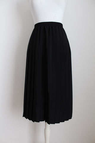 VINTAGE BLACK PLEATED 3/4 LENGTH SKIRT - SIZE XL