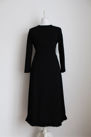 VINTAGE WOOL BLACK FRINGED DRESS - SIZE 12