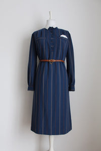 VINTAGE STRIPED BLUE LONG SLEEVE SHIRT DRESS - SIZE 14