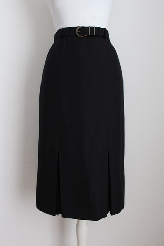 VINTAGE BLACK BELTED PLEATED PENCIL SKIRT - SIZE 10
