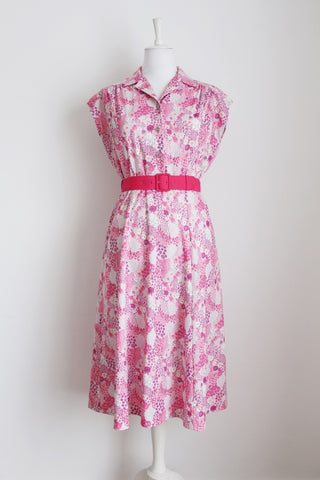 VINTAGE PINK WHITE FLORAL PRINT BELTED DRESS - SIZE 12