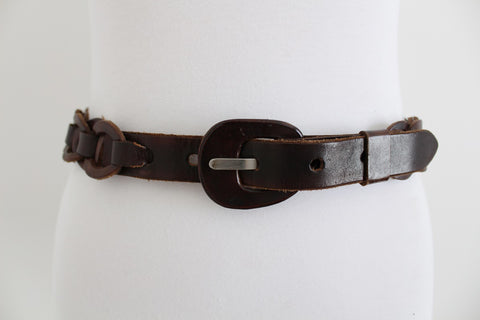 VINTAGE WOVEN GENUINE LEATHER BROWN BELT