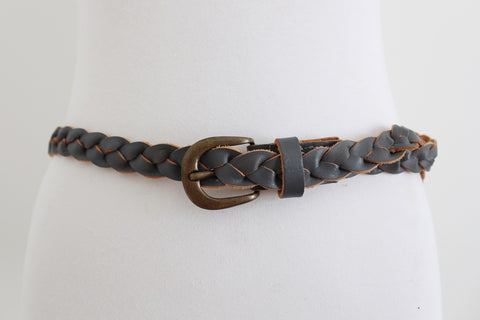 VINTAGE GREY WOVEN GENUINE LEATHER BELT