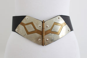 VINTAGE HINGED BRASS SILVER TONE METAL LEATHER WAIST BELT