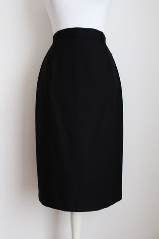 100% WOOL VINTAGE BLACK PENCIL SKIRT - SIZE 10