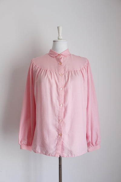 VINTAGE PASTEL PINK RUCHED BLOUSE - SIZE 18