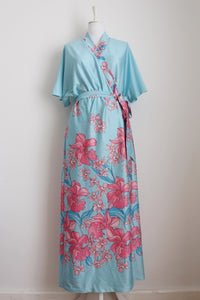 VINTAGE WRAP BLUE PINK FLORAL PRINT DRESS GOWN - SIZE L