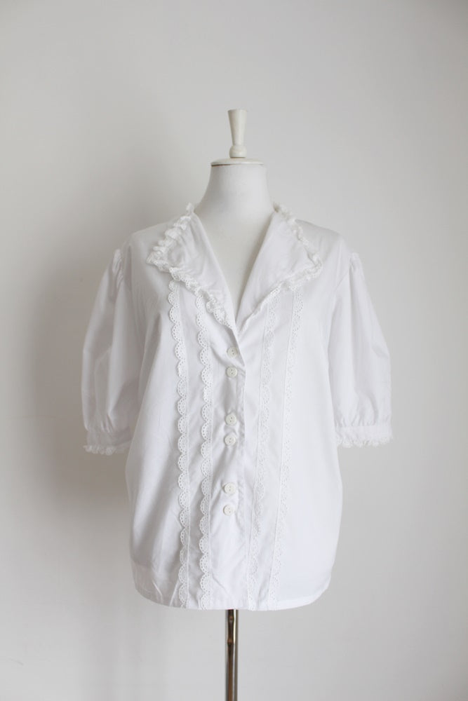 VINTAGE BRODERIE ANGLAISE WHITE BLOUSE - SIZE 18
