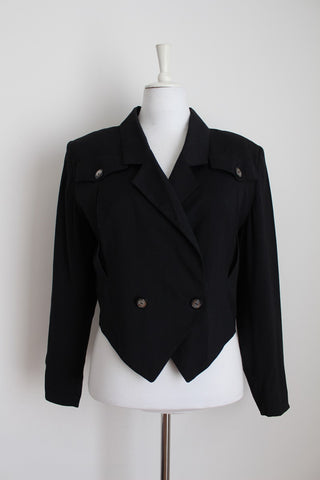 VINTAGE CROPPED DOUBLE BREASTED BLACK JACKET - SIZE 12
