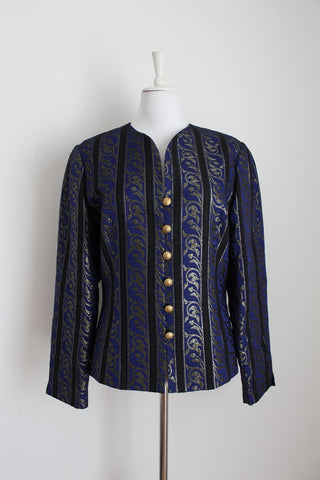 ARA VINTAGE BLUE GOLD STRIPED BLAZER - SIZE 14
