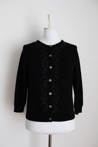 100% CASHMERE BLACK BEADED CARDIGAN JERSEY - SIZE L