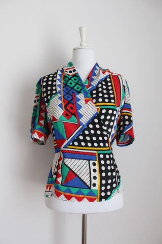 VINTAGE CROSS BUST PRINTED BLOUSE - SIZE 10/12
