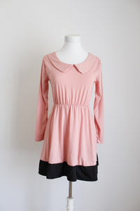VINTAGE STYLE PINK BLACK PETER PAN COLLAR DRESS - SIZE S