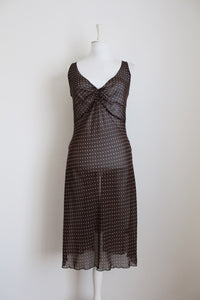 VINTAGE STYLE SHEER BROWN POLKA DOT DRESS - SIZE 12